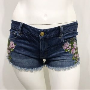 American Eagle Embroidered Cutoff Shorts